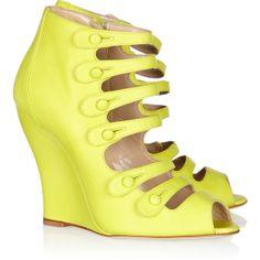 Oscar de la Renta Dakota brushed-leather wedge sandals ($420) ❤ liked on Polyvore