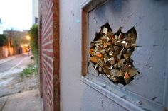 """LA-based artist Paige Smith as she installed a BUNCH of her famous """"Urban Geodes"""" around Philly in collaboration with HAHA MAG x Paradigm Gallery Community Arts Program… www.hahaxparadigm.org /  photo credit: Conrad Benner"""