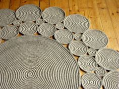 5 ft Crochet jute circle rug / Rustic rug / by HandmadeByzVyara