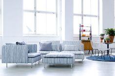 Bemz cover for Söderhamn sofas and chair, fabric: Japan, design Göta Trägårdh, by Bemz. Cushion cover in Grey Harlequin by Annika Malmström. All fabrics digitally printed. www.bemz.com
