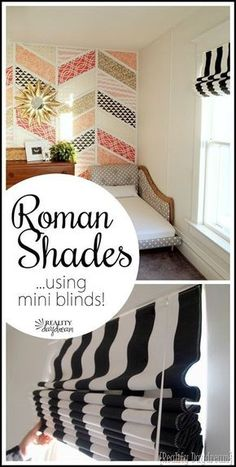 to make DIY Roman Shades using Mini-Blinds Simple instructions for making a fabric Roman Shade usinging your existing mini blinds! {Reality Daydream}Simple instructions for making a fabric Roman Shade usinging your existing mini blinds! Fabric Roman Shades, Diy Roman Shades, Diy Projects To Try, Home Projects, Mini Blinds, Blinds Diy, Diy Wall Shelves, How To Make Diy, Roman Blinds