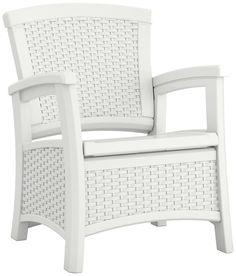 White Wicker Storage Chair Outdoor Patio Pool Deck Porch Balcony Sun Room Seat #Suncast #White #Chair #Storage #Furniture