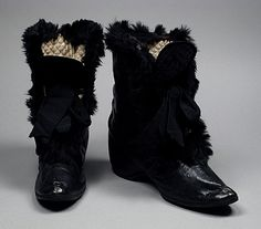 1885 Lady's Carriage Boots  Culture: American  Medium: kid leather, rabbit fur, rubber