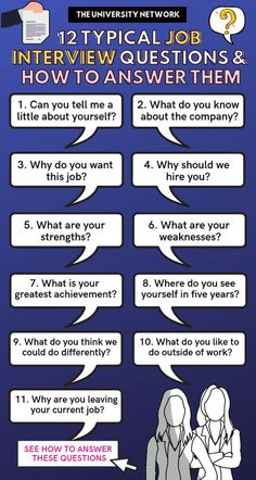 12 Typical Job Interview Questions: How To Answer Them | The University Network Typical Job Interview Questions, Job Interview Answers, Job Interview Preparation, Job Interview Tips, Job Interviews, Management Interview Questions, Teacher Interview Questions, Interview Techniques, Prepare For Interview