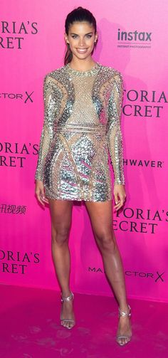 Sara Sampaio in Zuhair Murad attends the 2016 Victoria's Secret Fashion Show in Paris. #bestdressed