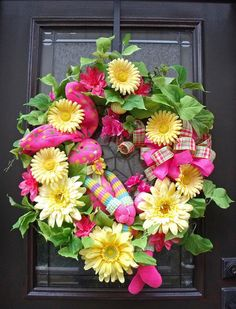 Easter Wreath Spring Wreath Sock Bunny Wreath, LOVE PINK AND YELLOW