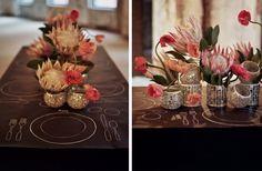 Source: Celadon & Celery/Tory Williams via Ruffled | Protea Centrepieces #wedding #flowers #protea