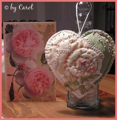 Fabric Rose Heart thoughtfully embroidered. Boxwood Cottage