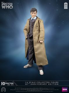 """10th Doctor Who Long Brown Coat Blue Pinstripe Suit Red Shoes5/"""" FigureTenth"""