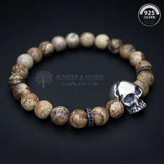 Skull Bracelet, Mens Bracelet, Womens Bracelet, Cracked Skull Bracelet, Masculine Armband, Stretch Bracelet, Jewelry For Men by JuniperandEloise on Etsy