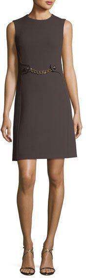 Michael Kors Boucle Crepe Chain-Waist Shift Dress
