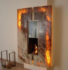 22 Unique Modern Fireplaces which Do Double Duty Creating Warmth and Beauty modern fireplace design and home decorating ideas Contemporary Fireplace Designs, Contemporary Bedroom Furniture, Contemporary Interior Design, Contemporary Architecture, Modern Fireplaces, Contemporary Style, Contemporary Stairs, Contemporary Building, Contemporary Cottage