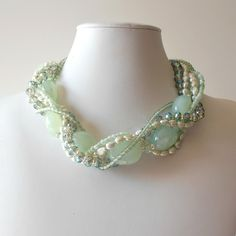 Chunky Necklace Seafoam Green Gemstone Pearl Crystal Silver Beaded Multistrand Bead Jewelry Necklace Beach Wedding. $85.00, via Etsy.