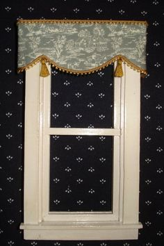 Toile Valance. For Your Dollhouse. available in Blue, Red, Green and Grey. Muted Green - Colonial Green. Simply attach adhesive( included ) and press into place along top of window! looks great both from inside and outside.