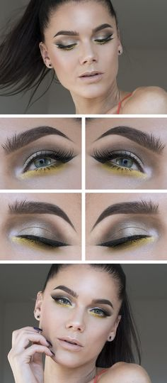 """Linda Hallberg makeup look - """"Primary Yellow"""" - tan/taupe eye-shadow with a pop of yellow, and nude lips."""