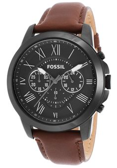 Fossil Men's Grant Chronograph Brown Genuine Leather Black Dial - Watch FS4885,    #Fossil,    #FS4885,    #WatchesCasualQuartz