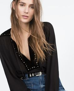Image 2 of VELVET COMBINED BLOUSE from Zara