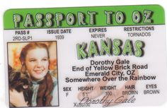 id card Dorothy Gale Judy Garland Wizard of Oz fun drivers license Emerald City