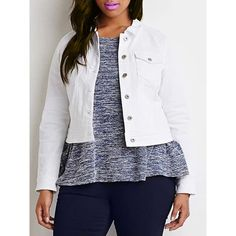Chic Turn-Down Neck Long Sleeve Button Design Plus Size Women's Jacket