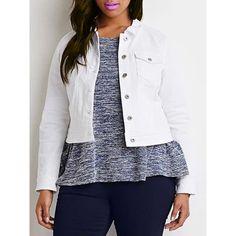 Chic Turn-Down Neck Long Sleeve Button Design Plus Size Women's Jacket