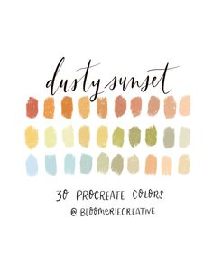 Excited to share this item from my shop: Dusty Sunset / Autumn / Fall / Procreate color palette / Procreate swatches Color Palette From Image, Sunset Color Palette, Fall Color Palette, Sunset Colors, Colour Pallette, Summer Color Palettes, Ui Palette, Seasonal Color Analysis, Color Psychology
