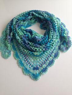 Best Selling Item - Crochet Blue Mint Ombre Shawl, Handmade, Fall Accessories