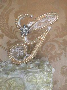 custom monogram wedding cake toppers with lace by TheCrystalFlower