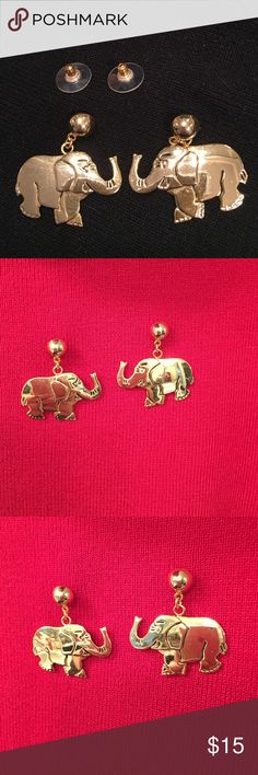 "Elephant pierced Earrings gold tone shiny Elephant pierced Earrings gold tone shiny.  Elephant is 1 1/2"" wide x 1"" tall. It will dangle Down approximately 1 1/4"". Never been worn.  Gold shiny tone and picks up colors around it. Jewelry Earrings"