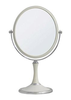 JustNile Two-Sided Modern Tabletop Vanity Mirror – Large Oval White