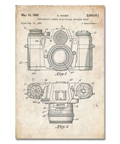 Love this Vintage Parchment Camera & Lens Patent Print by Patent Prints on #zulily! #zulilyfinds