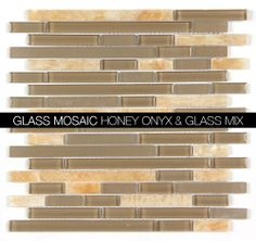 All Marble Mosaic Glass and Stone blend Random Strip 12 x 12 Mosaic Tile | Stone and glass mosaics. backsplash and more http://allmarbletiles.com