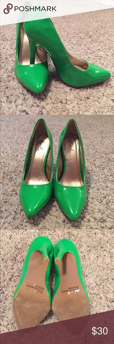 Neon Green Qupid Pumps Worn once for a wedding a few hours. Small scuff (unnoticeable on) outside of right shoe, pic 4. Small scuff on heel of right shoe, pic 6. Comes with original box. Qupid Shoes Heels