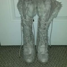 Boots Boots with fur tie up with side zipper 3 inch heel Shoes Lace Up Boots