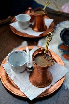 Greek coffee,  the correct way to serve it,  in a briki!