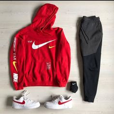 Clean all over 🔥🔥❤️ Hope you like the colour matching we did with the insane Air force 1 Swooshpack 👌🏼💯 Nike Outfits, Athleisure Outfits, Mens Clothing Trends, Hype Clothing, Cool Outfits For Men, Trendy Outfits, Fashion Outfits, Instagram Outfits, Streetwear Mode