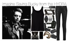 """Imagine Saving Bucky from the HYDRA"" by fandomimagineshere ❤ liked on Polyvore featuring Sebastian Professional, Balmain, Motorola, Vince Camuto, Uniqlo, Forge de Laguiole, Commando, Alexander McQueen and Dolce&Gabbana"