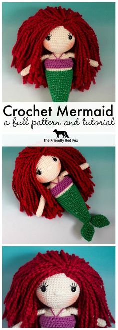 Free Mermaid Crochet Pattern – The Friendly Red Fox- Crochet Patterns Free Mermaid Crochet Pattern Full pattern and tutorial on this Crochet Mermaid doll with all the tips and tricks to make her your own (even if you are a beginner! Crochet Gratis, Cute Crochet, Crochet Dolls, Easy Crochet, Crochet Baby, Blanket Crochet, Knitting For Kids, Crochet For Kids, Baby Knitting