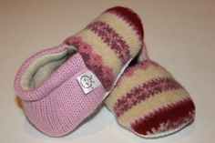 Pale Pink Fair Isle Baby Booties Upcycled Wool and Cashmere