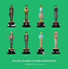 """""""It's that time of the year again when I have fun illustrating the Best Picture nominations, check it out! Oscar Best Picture, Best Picture Nominees, Academy Awards Best Picture, The Big Short, Empire, Mad Max Fury Road, The Revenant, The Martian, Great Movies"""