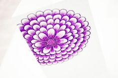 Pen Art: Purple flower card design created with coloued pens by Sarah Jansma Pen Design, Pen Art, Flower Cards, Purple Flowers, Pens, Create