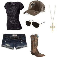 This is my country girl style. Looks like a great eric church concert outfit! Country Girl Outfits, Summer Cowgirl Outfits, Country Wear, Country Girl Style, Country Fashion, Country Girls, Summer Outfits, Cute Outfits, My Style