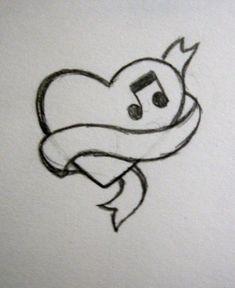 music_heart_tattoo_by_nohimase.jpg × - music_heart_tattoo_by_nohimase. Art Drawings Sketches Simple, Mini Drawings, Easy Pencil Drawings, Girl Drawing Sketches, Cute Easy Drawings, Kawaii Drawings, Easy Heart Drawings, Drawing Ideas, Drawings Of Hearts