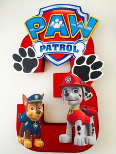 Paw Patrol birthday number centerpieces by on Etsy Paw Patrol Birthday Theme, Paw Patrol Party, Paw Patrol Pinata, 4th Birthday Parties, 3rd Birthday, Birthday Ideas, Happy Birthday, Fete Laurent, Paw Patrol Decorations