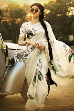 Flaunt White and Black Color Linen Designer Digital Print Saree Indian Fashion, Retro Fashion, Womens Fashion, Fashion Edgy, Fashion Black, South Indian Actress, Beautiful Indian Actress, Beautiful Saree, Indian Sarees