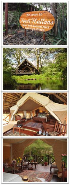 This is camping at its finest!  Finch Hatton Lodge is located on the western border of Tsavo West Reserve in Nairobi, Kenya.  Visitors can stay in luxury tents with all of the amenities of a fine, 5-star hotel...oh, and wild animals roaming freely! #Safari #Luxury
