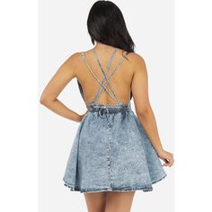 Sexy Denim Jean Dress with Open Back (Acid Wash) ($40) ❤ liked on Polyvore featuring dresses, sexy open back dresses, acid wash dress, sexy blue dress, sexy dresses und open back dress
