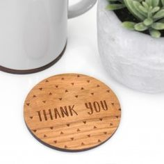 A beautiful wooden coaster etched with the words 'thank you'. A lovely way to say thank you to a special teacher for all their hard work throughout the year, this wooden coaster is a practical and se. Thanks Teacher, Thank You Teacher Gifts, Gifts For Mum, Personalized Gifts For Her, Customized Gifts, Luxury Gifts For Women, Stationary Box, Unique Home Accessories, Presents For Teachers