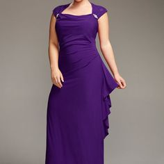 Purple Lace Sleeve Gown-Plus Size Special Occasion Dress-Avenue