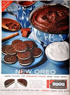 1960 Original Ad Nabisco Oreo Chocolate Creme Sandwich Cookies Take 1 Break 1 Dutch Oven Desserts, Dutch Oven Cooking, Dutch Oven Recipes, Dutch Ovens, What's Cooking, Cooking Recipes, Cookie Dough Oreo Brownies, Chocolate Chip Cookie Dough, Oreo Cookies