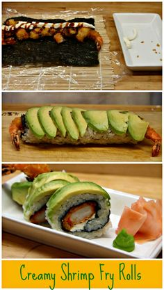 Learn How to Make Sushi - Creamy Shrimp Fry Rolls. Step by Step Tutorial.